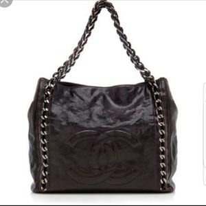 Chanel modern chain shopper tote in brown  caviar